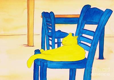 Colourfull Painting - Yellow Cat by Michaela Bautz