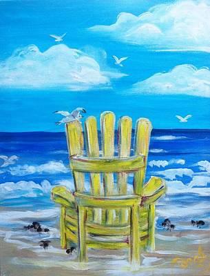 Yellow Chair Art Print by Doralynn Lowe