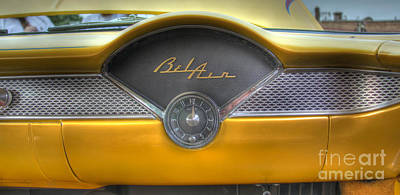 Photograph - Yellow Chevy Bel Air Dashboard  by Lee Dos Santos