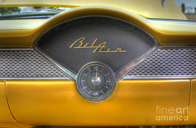 Photograph - Yellow Chevy Bel Air Glove Box And Clockface by Lee Dos Santos
