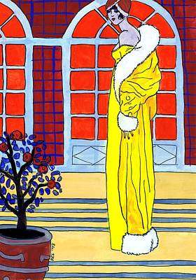 Potted Plants Drawing - Yellow Coat by Mel Thompson