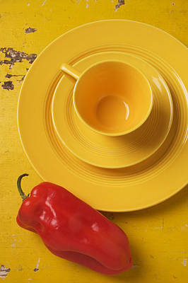 Platter Photograph - Yellow Cup And Plate by Garry Gay