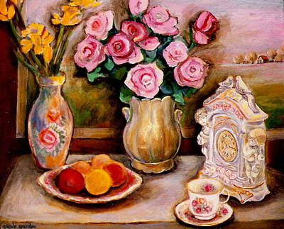 Painting - Yellow Daffodils Red Roses  Peaches And Oranges With Tea Cup  by Carole Spandau