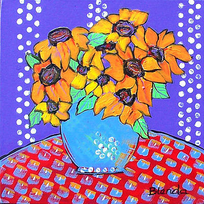 Dot Painting - Yellow Daisies Still Life by Blenda Studio