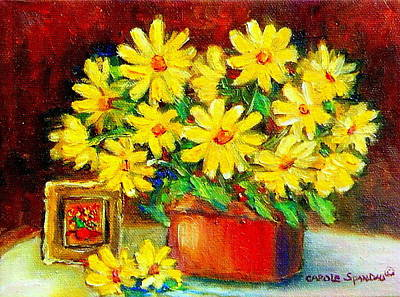 Painting - Yellow Daisies With Miniature Painting  by Carole Spandau