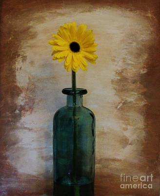 Brown Tones Photograph - Yellow Daisy In A Bottle by Marsha Heiken