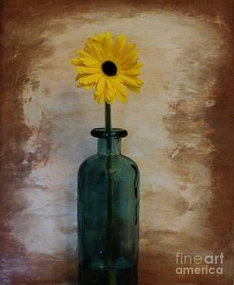 Yellow Daisy In A Bottle Art Print