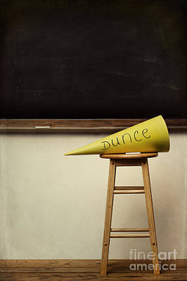 Dunce Caps Photograph - Yellow Dunce Hat On Stool With Chalkboard by Sandra Cunningham