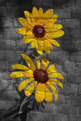 Grafitti Mixed Media - Yellow Flower Grafitti by Eric Liller