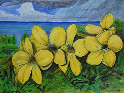 Yellow Flowers And Rain Clouds Art Print