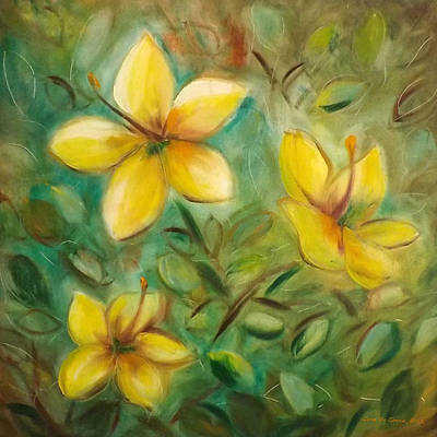 Painting - Yellow Flowers by Gina De Gorna