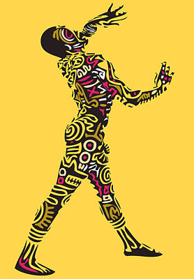 Yellow Haring Art Print by Kamoni Khem