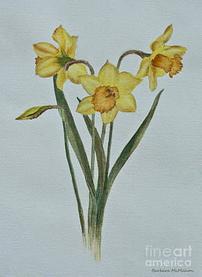 Daffodils Painting - Yellow Heads by Barbara McMahon