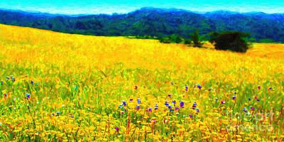 Yellow Hills . Long Cut Art Print