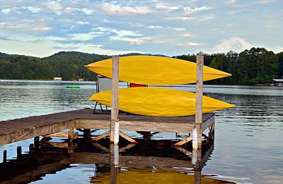 Yellow Kayaks Art Print by Susan Leggett