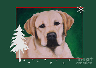 Painting - Yellow Labrador Portrait Christmas by Amy Reges