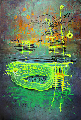 Art Print featuring the painting Yellow Ladder by Lolita Bronzini