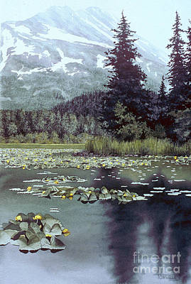 Lilly Pond Painting - Yellow Lillies by Frank Townsley