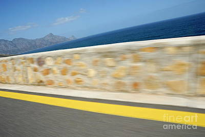 Yellow Line On A Coastal Road By Sea Art Print by Sami Sarkis