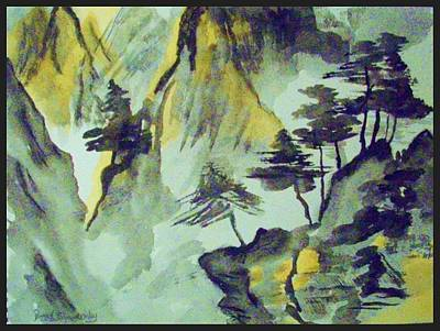 Yellow Orient Mountains Art Print by Peggy Leyva Conley