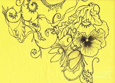 Yellow Pansy And Ladybug Art Print