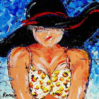 Painting - Yellow Polka Dot Bikini by Wendy Winbeckler