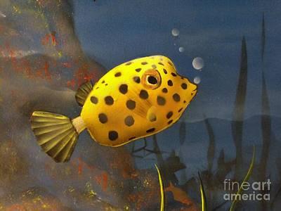 Trunkfish Wall Art - Painting - Yellow Polka Dot Trunkfish by Sandy  Hurst