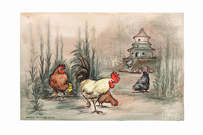 Bamboo Farm Painting - Yellow Rooster Pagoda by Nancy Pahl