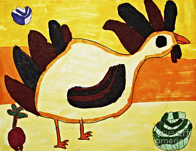 Yellow Rooster Still Art Print by Stephanie Ward