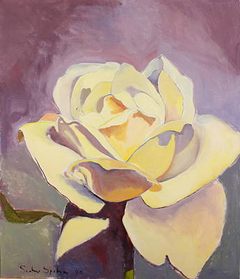 Painting - Yellow Rose-1-posthumously Presented Paintings Of Sachi Spohn  by Cliff Spohn