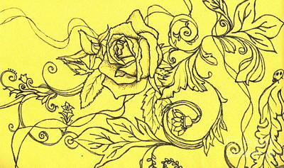 Ladybug Drawing - Yellow Rose And Ladybug by Denise Hoag