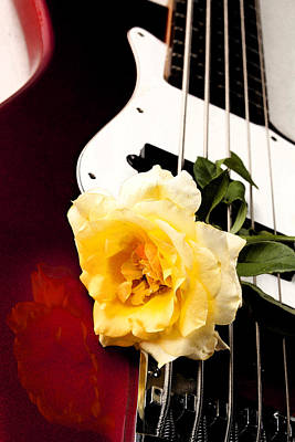 Photograph - Yellow Rose Red Electric Bass Guitar by M K Miller