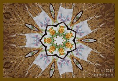 Digital Art - Yellow Roses Burst Kaleidoscope by Donna L Munro