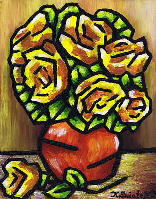 Polish Artists Painting - Yellow Roses by Kamil Swiatek