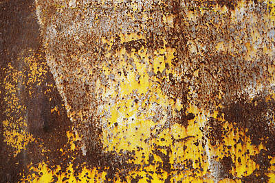 Photograph - Yellow Rusty Metal Surface by Matthias Hauser