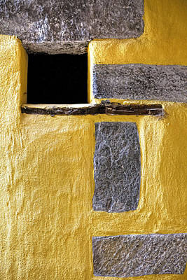 Old House Photograph - Yellow Stone Wall by Joana Kruse