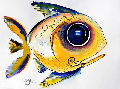 Fish Abstract Painting - Yellow Study Fish by J Vincent Scarpace