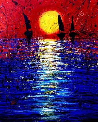 Horses In The Ocean Painting - Yellow Sun by Artist Singh