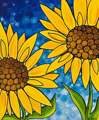 Sunflower Art Painting - Yellow Sunflowers by Sharon Cummings