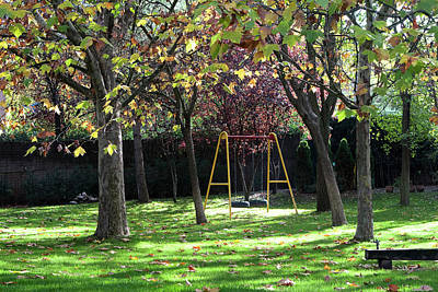 Photograph - Yellow Swingset by Lorraine Devon Wilke