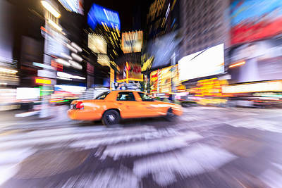 Y120831 Photograph - Yellow Taxi Cab In Times Square, New York by Fred Froese