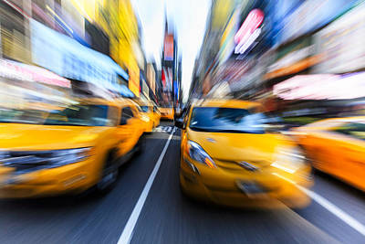 Y120831 Photograph - Yellow Taxis Cabs, Times Square, New York by Fred Froese
