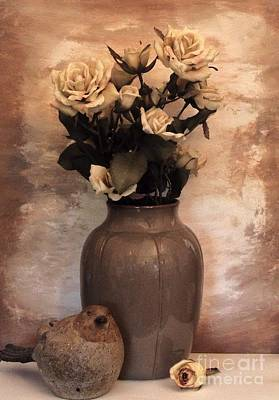 Brown Tones Photograph - Yellow Tinted Roses by Marsha Heiken