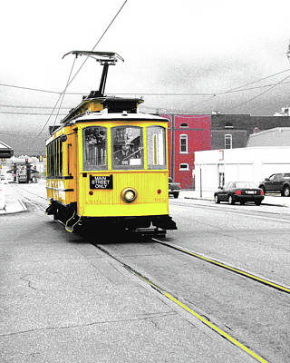 Digital Art - Yellow Trolley North Main St by Lizi Beard-Ward
