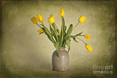 Yellow Tulips In Clay Pot Art Print by Heather Swan