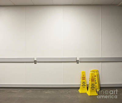 Yellow Wet Floor Signs Art Print by Jetta Productions, Inc