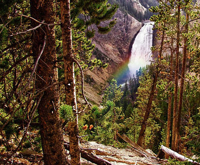 Digital Art - Yellowstone Falls With Rainbow by Gary Baird