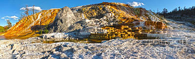 Yellowstone National Park - Mammoth Hot Springs - Panorama Art Print by Gregory Dyer