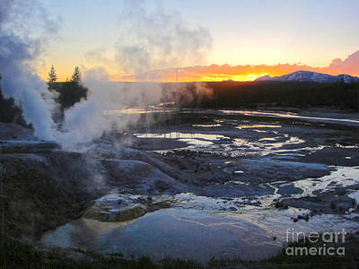 Yellowstone Norris Geyser Basin At Sunset - 03 Print by Gregory Dyer