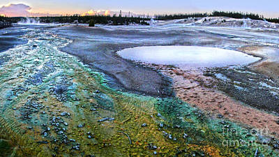 Yellowstone Norris Geyser Basin At Sunset - 04 Art Print by Gregory Dyer